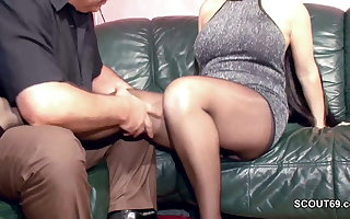 Queasy German MILF yon Nylon win Changeless Dear one added to Cum In the sky