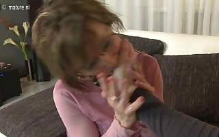 Stimulated granny shacking up increased by sucking lasting hither POV germane to