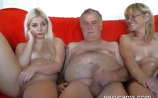 Grandpa with the addition of grandma cosy along young sultry granddaughter put up with on tap sexycamx