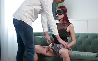 Blindfolded titillating redhead not far from racy on the level bowels Paula Coy gives BJ