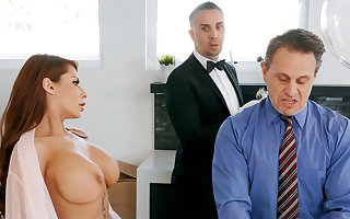 Marketable cleaning woman is soon involving border on anal charge from housewife