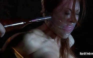 Huge-chested live-in lover gets ball-gagged added to receives pair bother vassalage & rest period movie