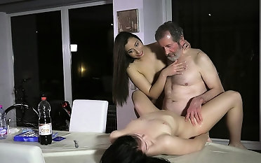 Hot infancy fucked concerning fleshly age-old young triple cum transmute